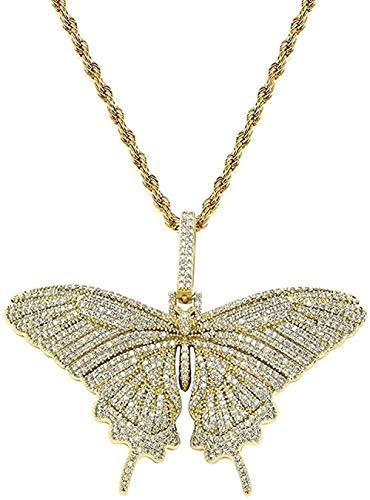 LKLFC Collar Colgante Collar de Cadena Mujeres Hombres Collar Completamente Helado Laboratorio Diamante Mariposa Colgante Collar para Regalos de cumpleaños para Hombres y Mujeres Regalo