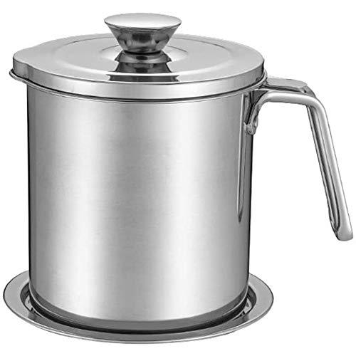 Oliekannen olieaanzuigzeef filter beker, Bijgewerkt roestvrij staal anti-lekkage multifunctioneel voor frituurolie opslag, keuken met eenvoudige gift,Silver