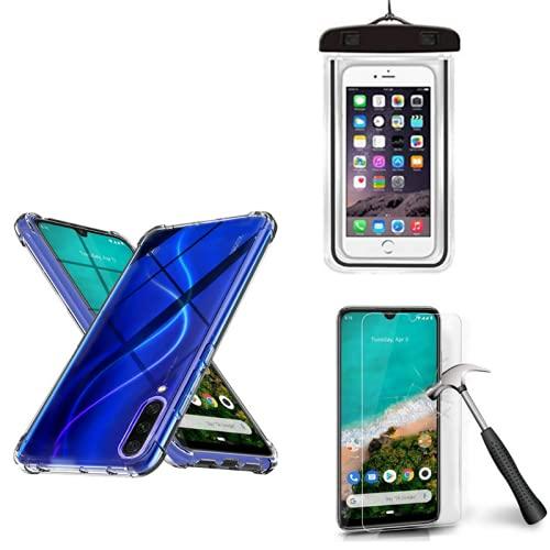 Kit Capinha Celular Prova d'agua + Capinha Compatível Xiaomi Mi A3 + Película (Não Cobre as Bordas Curvas do Aparelho)