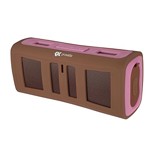 Proxelle Surge Blast Portable Rugged Waterproof Wireless Bluetooth Stereo Speaker with 3.5mm AUX Input, Handsfree Calling with Mic and Backpack Clip, Pink