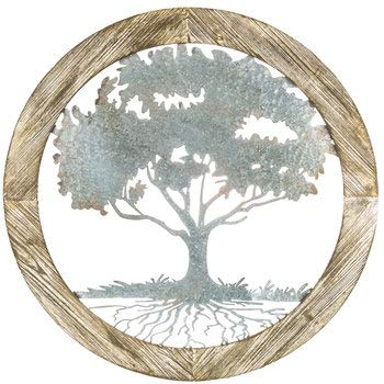 Shelby's Home Decor Celtic Inspired Tree of Life, Metal-Wood Wall Art, Home Decor 33 7/8 inches Round