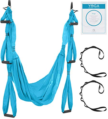 UpCircleSeven Aerial Yoga Swing Set - Yoga Hammock/Sling Kit + Extension Straps & eBook - Antigravity Ceiling Hanging Yoga Sling - Inversion Swing for Beginners & Kids (Blue)