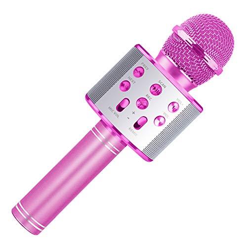 Wiwi Kinder Karaoke Mikrofon, Gesangsmaschine Mädchen Mikrofon Familie Party Geschenk Mädchen Junge Kind Kind 5-13 Jahre Mädchen Geschenk Drahtloses Mikrofon Bluetooth Rosa Mikrofon