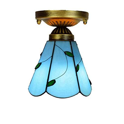 Lámpara de techo mediterránea azul de 6 pulgadas Tiffany Lámpara verde pastoral Hoja hecha a mano de vidrio de vidrio iluminación de la noche para la habitación de la sala de entrada de los niños