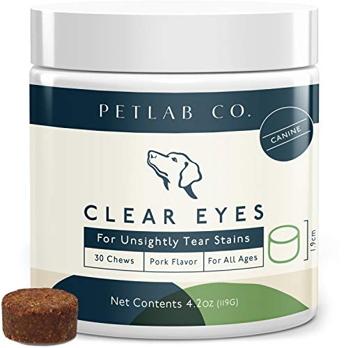 Petlab Co. Clear Eye Chews Dog Tear Stain Remover & Eye Wipe Alternative | Enhanced with Cranberry Extract Vitamin C & Eyebright | Helps Reduce Tear Stains & Supports Immunity