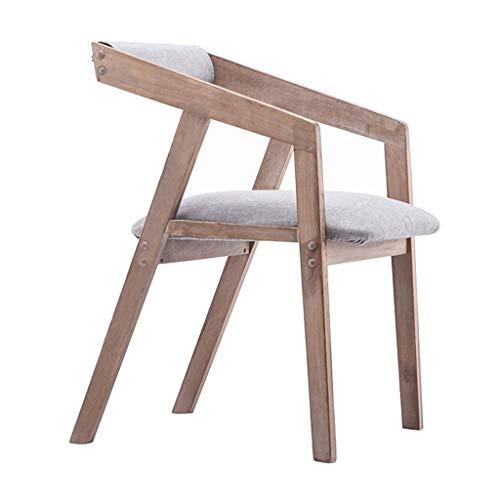 SONGYU Sedie da Pranzo Sedie da Cucina Braccioli in Legno massello Cuscini per sedie da Pranzo Sedie Imbottiti in Tessuto di Lino Fodera sfoderabile e Lavabile