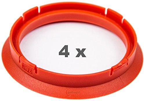 4 x Zentrierringe 74.1 mm auf 63.4 mm rot/red