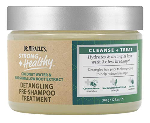 Dr. Miracle's Strong & Healthy Detangling Pre-Shampoo Treatment. Infused with Coconut Water, Marshmallow Root and Aloe Vera, hydrates and restores moisture to dry damaged hair.