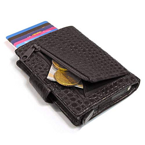 Figuretta Croco RFID Creditcardhouder Leer met Muntgeldvak Zwart