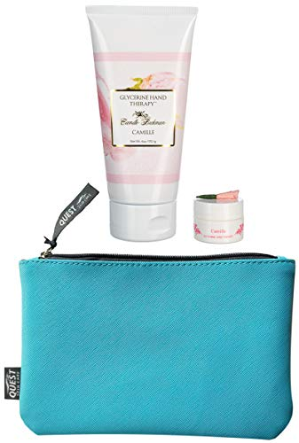 Camille Beckman Glycerine Hand Therapy, Camille, 6 Ounce plus Free hand cream .25 oz and FREE Quest Skin Care Make-up Bag