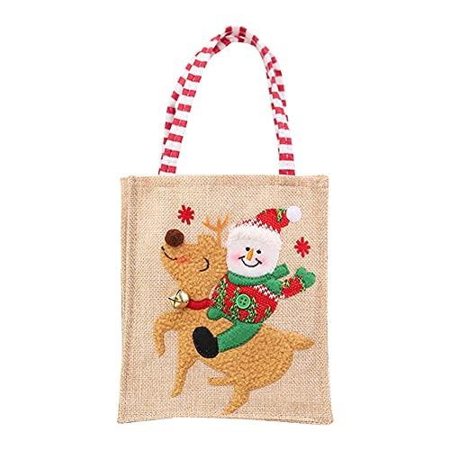 ZhangyJ Bolsa de mano de lino para decoración de Navidad, con patas largas, bolsa de regalo reutilizable no tejida o bolsa de compras, bolsas de comestibles con asas para Navidad