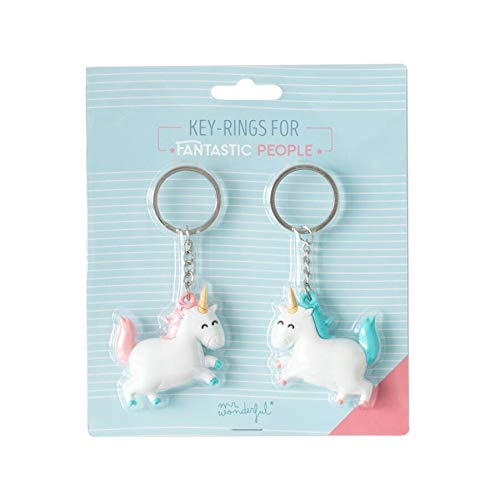 Mr. Wonderful Set de 2 llaveros Unicornio para Personas fantásticas (Eng), Multicolor, 6x7 cm