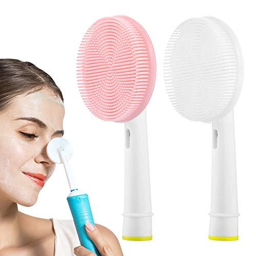 Th-some 2 PCS Testine di ricambio per spazzolino elettrico compatibile con Oral-B Braun Spazzola in Silicone (White+Pink)