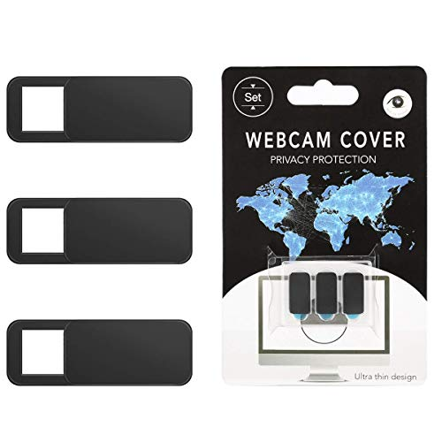 Webcam Cover- Veraly Cubierta de la cámara web para computadora portátil, computadora de escritorio, PC, Macbook Pro, iMac, Mac Mini, computadora, teléfono inteligente, protección de la privacidad y seguridad, adhesivo fuerte Negro 6 PCS