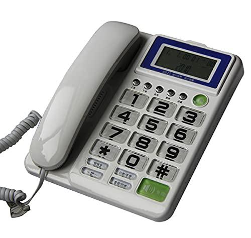 Botón Grande Amplificado Teléfono con Pantalla Grande para Los Ancianos, Usan Los Tonos De Llamada Extra Grandes, Teléfonos De Línea Fija, Teléfono Fijo Sin Manos,Blanco