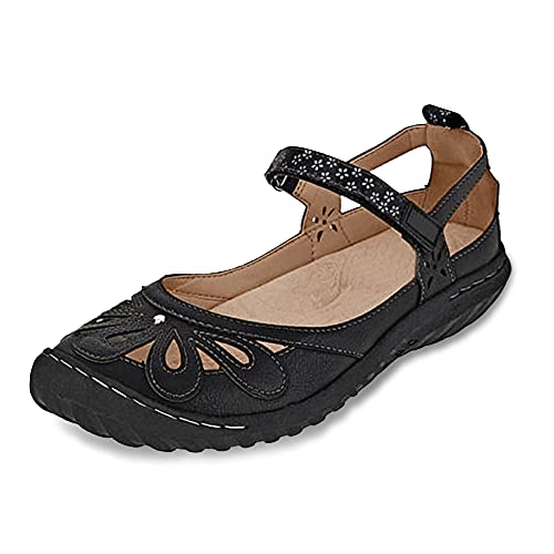 Aniywn Ankle Strap Sandals for Women Casual Summer Hollow Out Breathable Slip On Walking Beach Wedge Shoes Black
