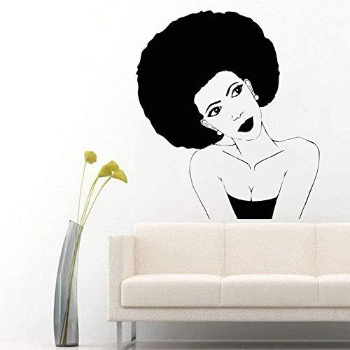 67x57cm mujer africana negra autoadhesiva de goma pegatina de pared peluquería salón creativo decoración del hogar decoración del hogar