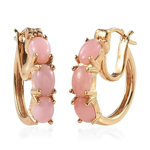 TJC Peruvian Pink Opal Hoop Earrings with Clasp Lock in 14ct Gold Over 925 Sterling Silver 2.25 Ct, Ladies Jewellery Gift