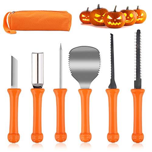 HOSPAOP Halloween Kürbis-Schnitzset, 6 Stück Edelstahl Kürbis schnitzen Set für Halloween Kürbis Dekoration