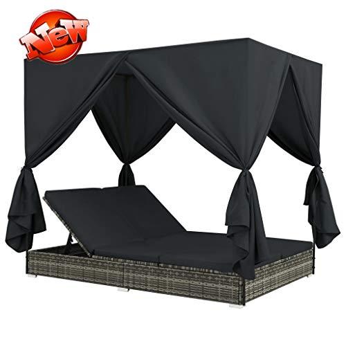 Jresboen - Cama exterior resistente y duradera con precontrol, mimbre, más resistente a la intemperie, tumbona doble para jardín, terraza, sillón de playa (gris)