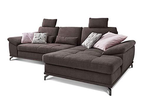 Cavadore Ecksofa Castiel mit Federkern, großes Sofa in L-Form mit Sitztiefenverstellung, Kopfstützen und XL-Longchair, 312 x 114 x 173, Webstoff, dunkelbraun