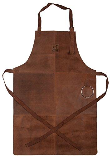 Michael Heinen Grillschürze Leder für Männer - Profi Vintage Kochschürze - Retro Küchenschürze BBQ Aprons