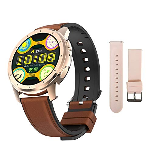 FFF8 Smart Watch Women Reproductor De Música MP3 Bluetooth Call IP68 Impermeable Tarifa Cardíaca Deporte Espacio De Sangre Smartwatch Hombres (Color : Leather Gold)