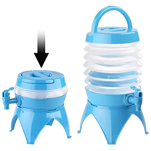 1Stück Faltbarer Wasserspender Zusammenklappbarer Getränkespender Tragbarer zusammenklappbarer Wasserträgerbehälter mit Tragegriff und Wasserhahn Passend für Camping im Freien Garten Parties