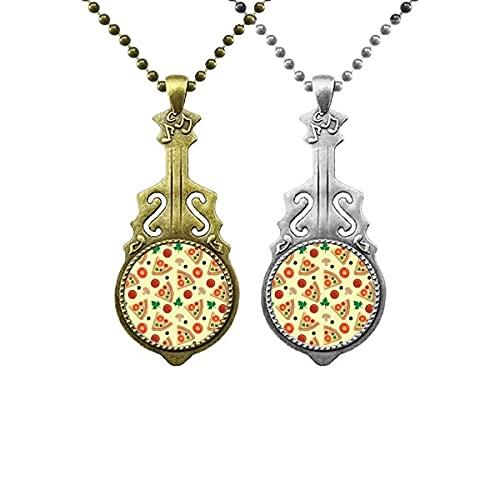 Pilz Pizza Italien Tomato Foods Liebhaber Musik Gitarre Anhänger Schmuck Halskette Anhänger