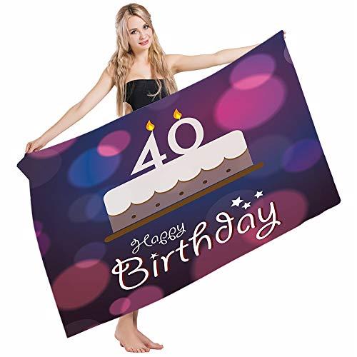 Mugod Beach Towel Bath Towels 40th Birthday Big Color Dots Cake Candles Hand Writing Stars Yoga/Golf/Swim/Hair/Hand Towel for Men Women Girl Kids Baby 64x32 Inch