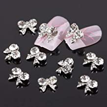 10Pcs Bow Tie Fashion 3D Clear Rhinestone Glitter Slice DIY Nail Art Stickers liyhh