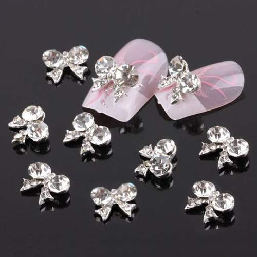 10Pcs Bow Tie Fashion 3D Clear Rhinestone Glitter Slice DIY Nail Art Stickers lyhhai