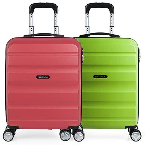 ITACA - Set 2 Maletas Pequeñas para Viaje en Pareja. Rígidas 4 Ruedas 55x40x20 cm Cabina Trolley ABS. Equipaje de Mano. Cómodas y Ligeras. Ryanair. Calidad y Diseño. T71650P, Color Coral/Pistacho