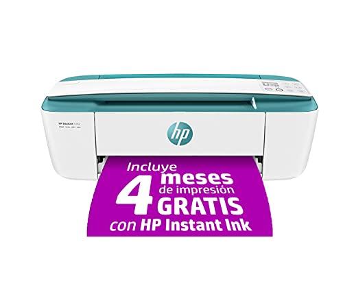 HP DeskJet 3762 T8X23B, Impresora Multifunción A4, Imprime, Escanea y Copia, Wi-Fi, Wi-Fi Direct, USB 2.0, HP Smart App, Incluye 4 Meses del Servicio Instant Ink, Verde Agua