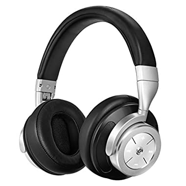 Active Noise Cancelling Bluetooth Headphones Wireless Headset - Stereo Foldable Over-Ear Headphones with Built-in MIC for Cell Phones Gaming PC TV, Upgraded Steel Black
