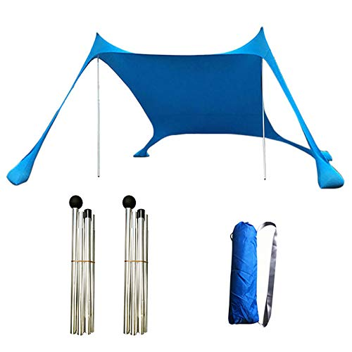 QYLJZB Toldo portátil de 6.9 x 6.9 x 5.2 pies, parasol portátil con 4 bolsas de arena y 2 postes de estabilidad para playa, picnic, pesca, camping (azul)