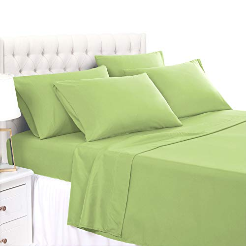 Basic Choice 4 Piece Twin Size Sheet Set - Luxury Soft 2000 Series Wrinkle & Fade Resistant Bed Sheets, Lime Green