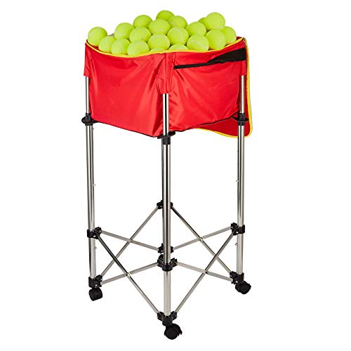 HIRAM Carrito de Pelotas de Tenis Capacidad del 160 Pelotas o 20 kg, Cesta Plegable para Pelotas de Tenis Marco de Acero Inoxidable Altura de 80-98 cm Tela Oxford Impermeable Desmontable (Rojo)