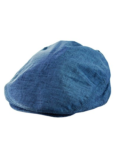 NYFASHION101 Fashionable Solid Color 100% Linen Unisex Duck Bill Ivy Cap, Blue, S/M