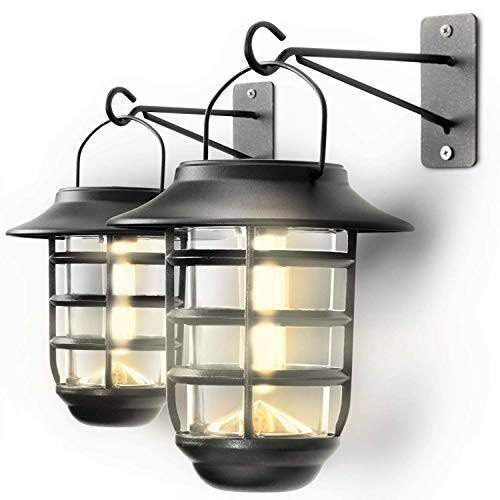 Home Zone Security Solar Wall Lantern Lights - Outdoor 3000K Decorative Glass Hanging Wall Mount Light with No Wiring Required (2-Pack)