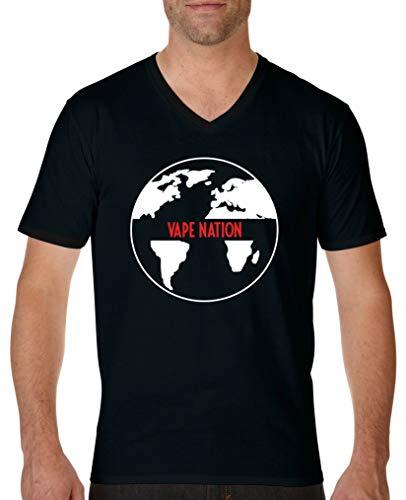 Comedy Shirts - Vape Nation Globus - Herren V-Neck T-Shirt - Schwarz/Weiss-Rot Gr. S