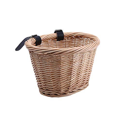 blessvt Wicker Storage Baskets,D-Shape Storage Basket Front Basket With Leather Straps,Large Capacity Folk Craftsmanship Shopping Basket Kids Woven Bike Basket For Boys And Girls Bicycles