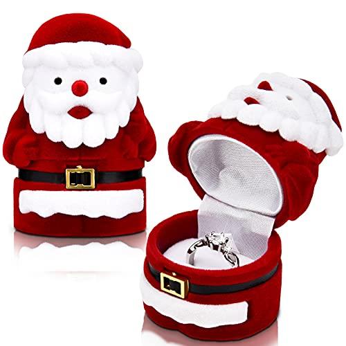Scatola per Anelli di Natale Scatola per Anelli Ornamentali Scatola per Anelli di Fidanzamento Portagioie Natalizio in Velluto per Proposta Regalo di Natale, Fidanzamento, Matrimonio(Babbo Natale)