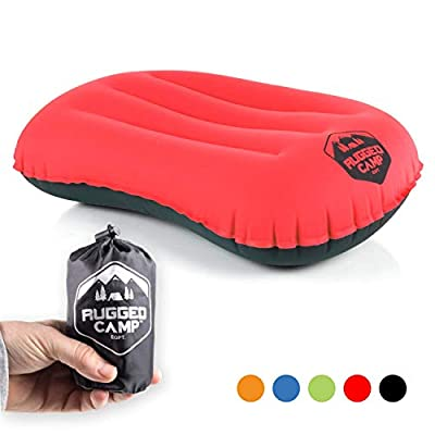 Camping Pillow - Ultralight Inflatable Travel Pillows - Multiple Colors - Compressible, Lightweight, Ergonomic Neck & Lumbar Support - Perfect for Backpacking or Airplane Travel (Red/Black)