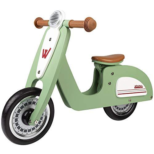 WOOMAX - Bici sin pedales madera, vespa madera, bici Scooter, bicicleta iniciación niños, bici sin pedales niño 2 años, máx 25 Kg, de 24 meses a 5 años (85378)