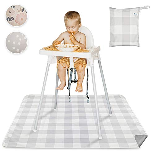 Mishmash Splat Mat | Non-Slip Splat Mat for Under High Chair W/ Case | Portable & Washable Waterproof Floor Mat | Multi-use Ground & Floor Mat for Baby, Toddlers, Pets and Messes (Gray Buffalo Check)
