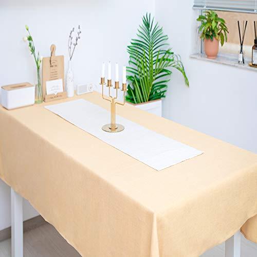 WOMGF Tischdecken Schmutzabweisend Pflegeleicht Tischwäsche Matte für Esszimmer Party Dekoration Gelb 130 * 170cm