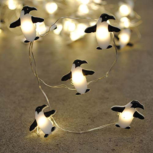 Brooklyn Lighting Company 12 Foot LED Wire Lights Strip with 36 Penguin Shaped Bulbs Battery Operated String Lights (12FT, Penguin)