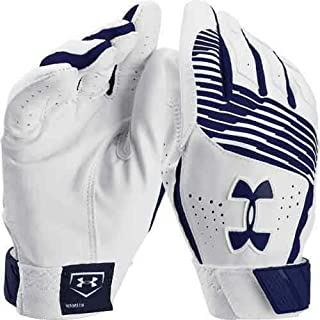 Under Armour UA Clean Up IV Diamond Armour Premium Goatskin Leather Batting Gloves Adult Small (White/Navy Blue Graphics)