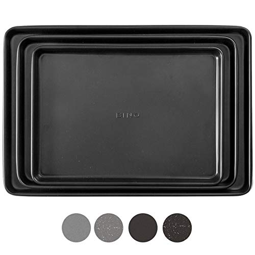 BINO Bakeware Nonstick Cookie Sheet Baking Tray Set, 3-Piece - Black | Premium Quality Baking Sheet Set with Nonstick Technology | Dishwasher Safe | Non-Toxic